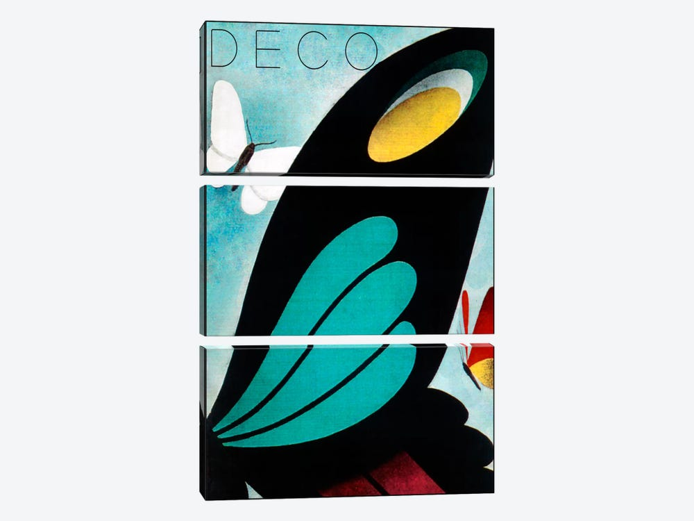 Deco Butterfly by Vintage Apple Collection 3-piece Art Print