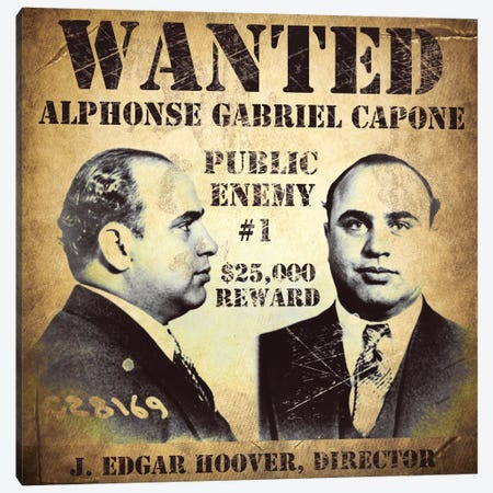 Al Capone Wanted Poster Canvas Print #VAC857} by Vintage Apple Collection Art Print