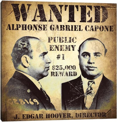 Al Capone Wanted Poster Canvas Art Print