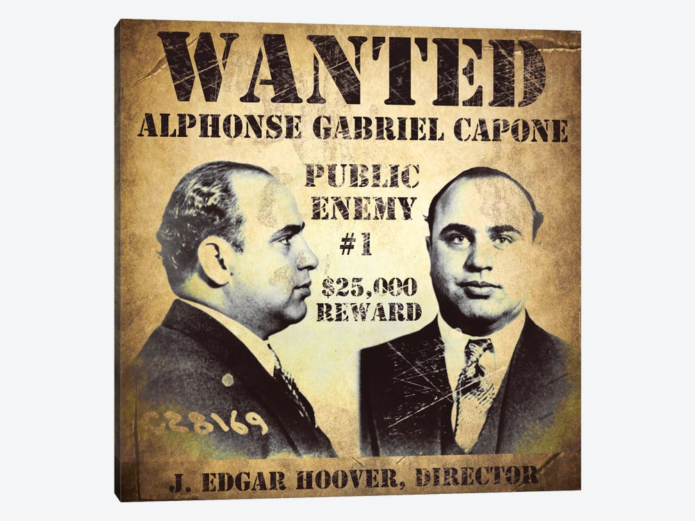 Rustic beach bathroom decor - Al Capone Wanted Poster By Vintage Apple Collection 1 Piece Art Print