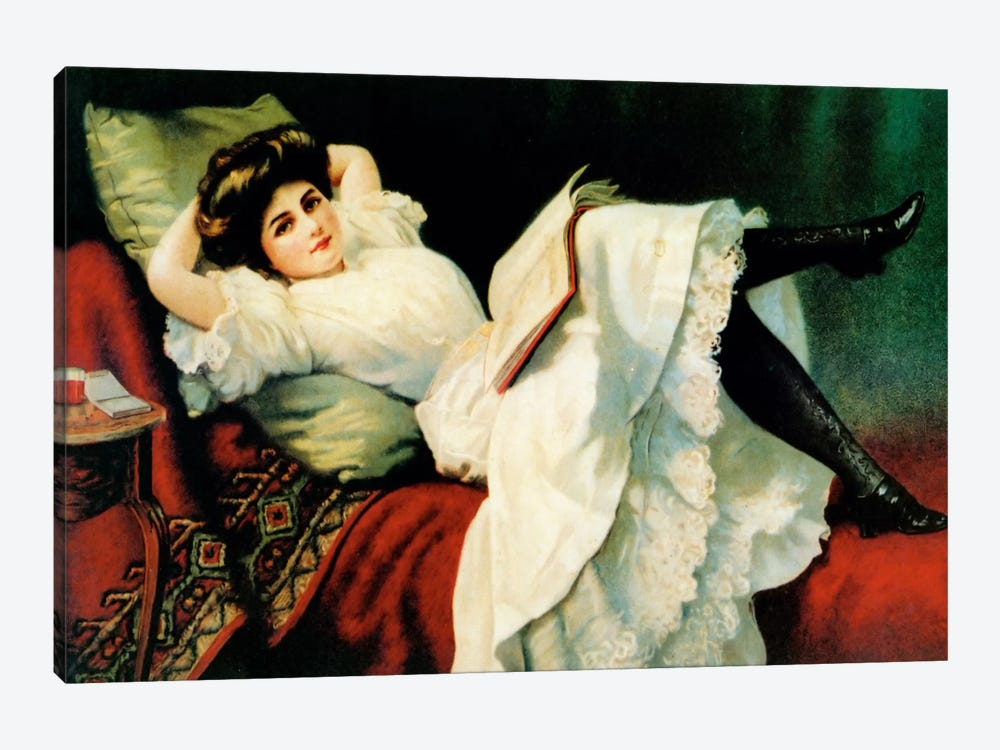 Beautiful Girl Laying On Couch by Vintage Apple Collection 1-piece Canvas Art