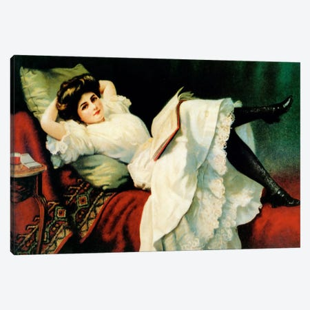 Beautiful Girl Laying On Couch Canvas Print #VAC867} by Vintage Apple Collection Canvas Artwork