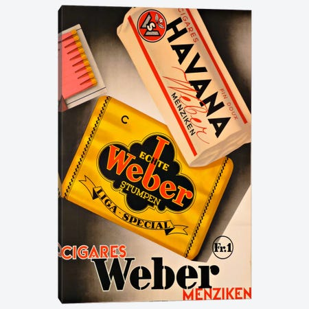 Cigares Weber Canvas Print #VAC881} by Vintage Apple Collection Canvas Art Print