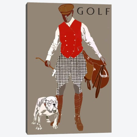 Bulldog Golf Canvas Print #VAC971} by Vintage Apple Collection Art Print