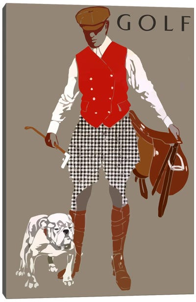 Bulldog Golf Canvas Art Print