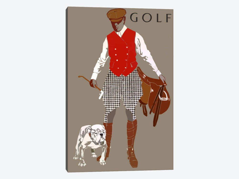 Bulldog Golf by Vintage Apple Collection 1-piece Canvas Art