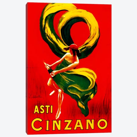 Cappiello Asticinzano Redgreenyellow Canvas Print #VAC974} by Vintage Apple Collection Canvas Art
