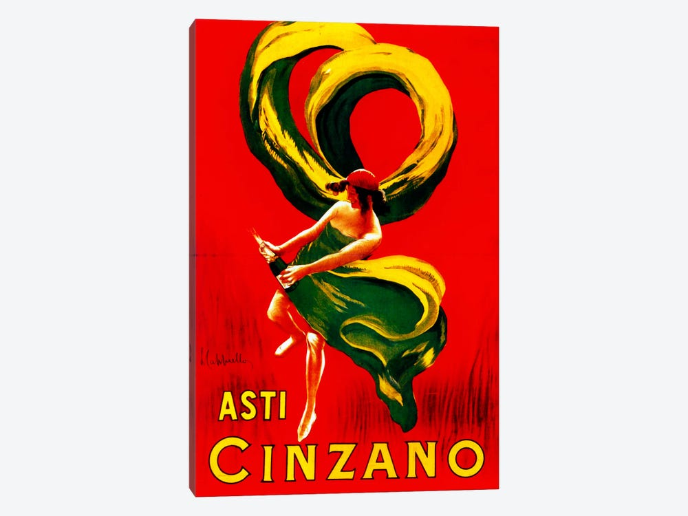 Cappiello Asticinzano Redgreenyellow by Vintage Apple Collection 1-piece Canvas Art Print