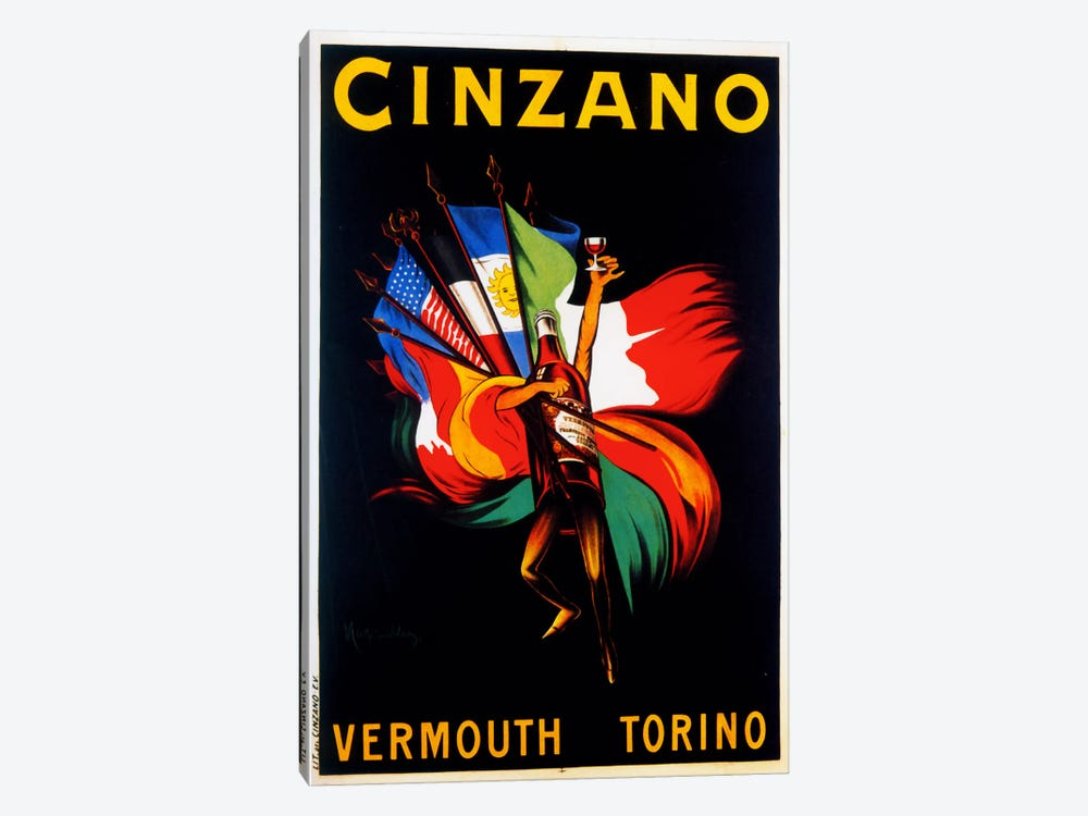 Cappiello Cinzano Vermouth Torino by Vintage Apple Collection 1-piece Canvas Artwork