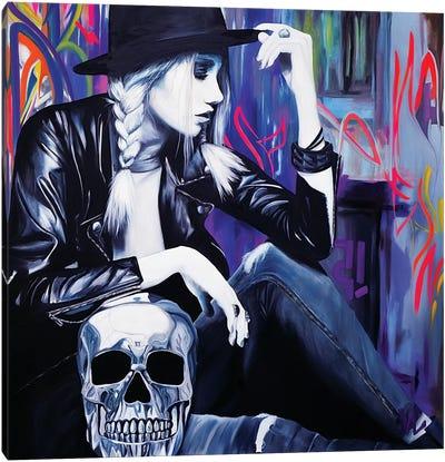 Skull In The Light Canvas Art Print