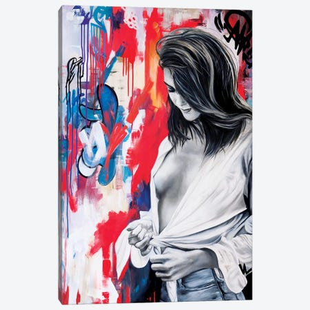 The Woman With The Knotted Shirt Canvas Print #VAE27} by Val Escoubet Canvas Wall Art