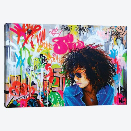 Graffitis On The Wall Canvas Print #VAE9} by Val Escoubet Canvas Art