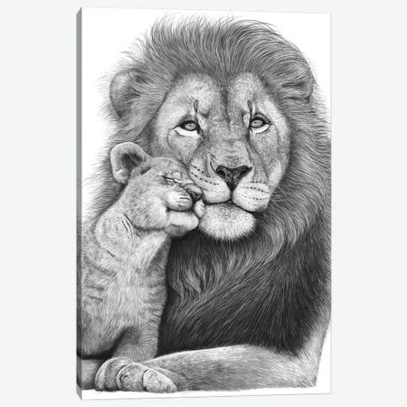 Lion With A Baby Canvas Print #VAK102} by Valeriya Korenkova Canvas Art Print