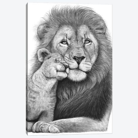 Lion With A Baby Canvas Print #VAK102} by Valeriya Korenkova Canvas Art Print