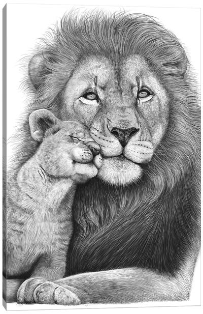 Lion With A Baby Canvas Art Print
