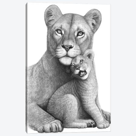 Lioness With A Baby Canvas Print #VAK103} by Valeriya Korenkova Art Print