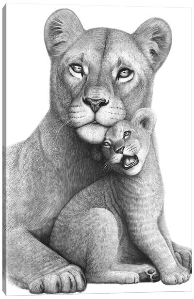 Lioness With A Baby Canvas Art Print