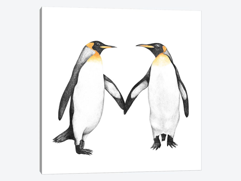Penguin Love by Valeriya Korenkova 1-piece Canvas Artwork