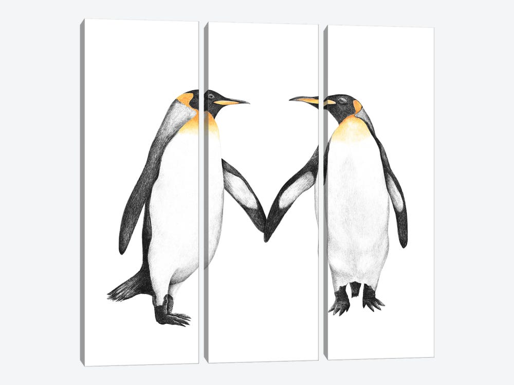 Penguin Love by Valeriya Korenkova 3-piece Canvas Artwork