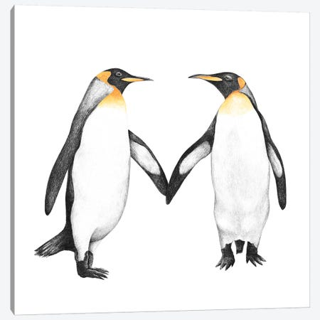Penguin Love Canvas Print #VAK106} by Valeriya Korenkova Canvas Wall Art