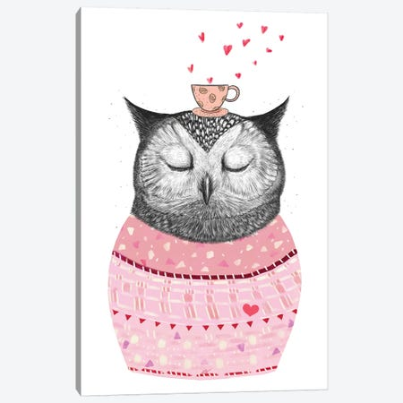 Owl With Coffee 3-Piece Canvas #VAK108} by Valeriya Korenkova Canvas Art Print