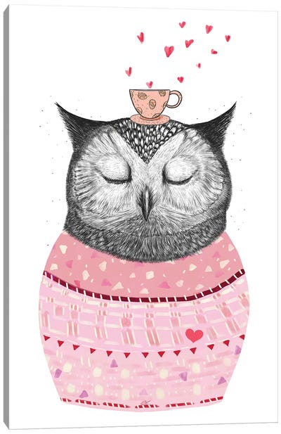 Owl With Coffee Canvas Art Print