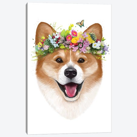 Corgi With Flowers Canvas Print #VAK10} by Valeriya Korenkova Canvas Art