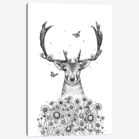 Deer In Flowers Canvas Print #VAK114} by Valeriya Korenkova Art Print