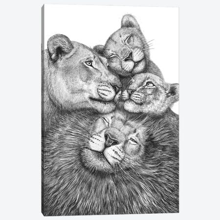 Family Of Lions Canvas Print #VAK128} by Valeriya Korenkova Art Print