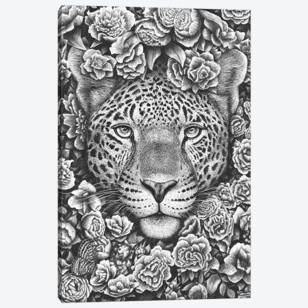 Jaguar In Flowers Canvas Print #VAK15} by Valeriya Korenkova Art Print
