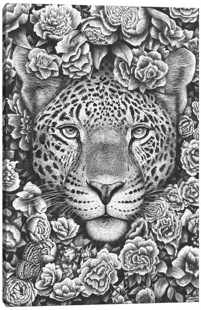 Jaguar In Flowers Canvas Art Print