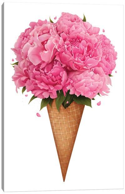 Ice Cream With Peonies Canvas Art Print