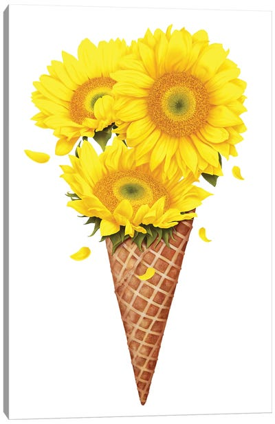 Ice Cream With Sunflowers Canvas Art Print