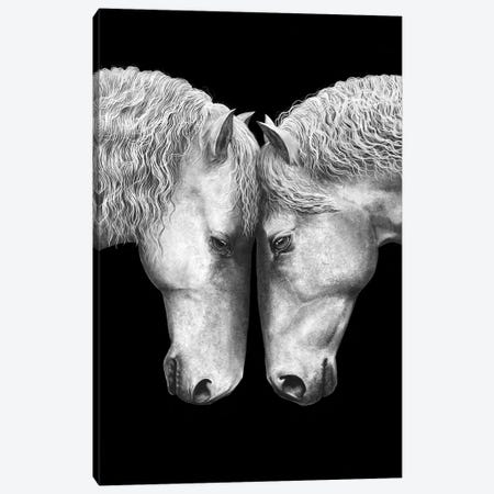 Horse Love On Black Canvas Print #VAK26} by Valeriya Korenkova Canvas Artwork
