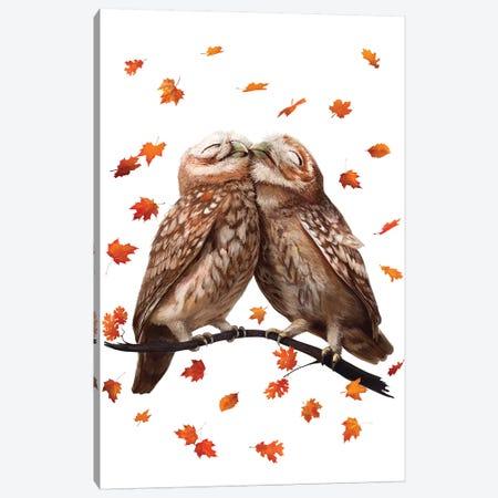 Autumn Owls 3-Piece Canvas #VAK42} by Valeriya Korenkova Canvas Print