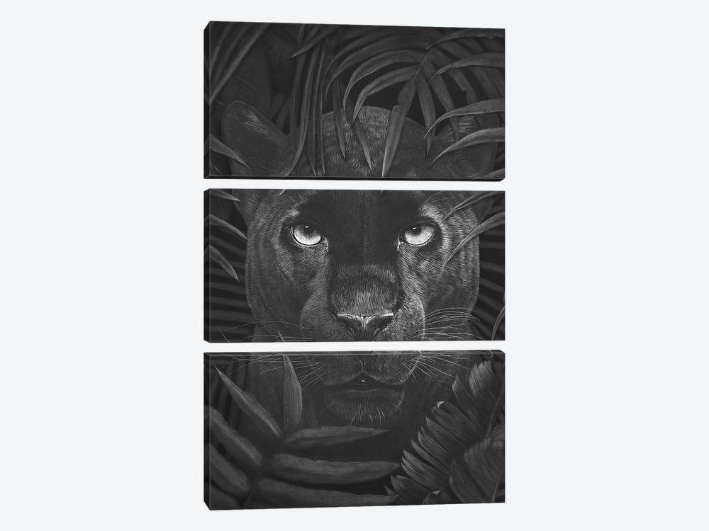 Panther In Jungle by Valeriya Korenkova 3-piece Canvas Print