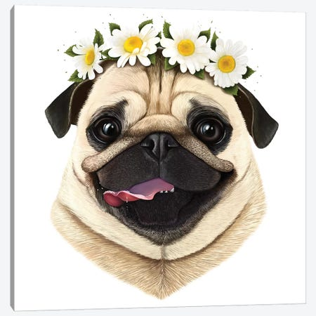 Pug With Flowers Canvas Print #VAK47} by Valeriya Korenkova Canvas Artwork