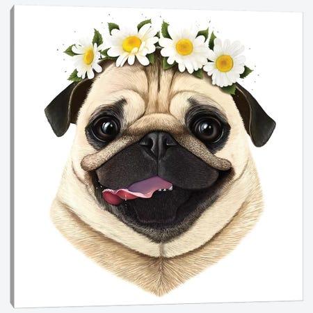 Pug With Flowers Canvas Print #VAK47} by Valeriya Korenkova Canvas Artwork