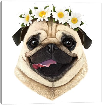 Pug With Flowers Canvas Art Print