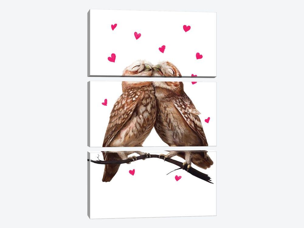 Lovely Owls by Valeriya Korenkova 3-piece Canvas Art Print