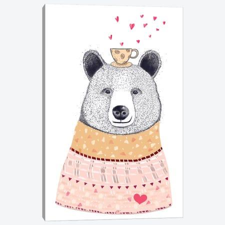 Bear Lover Of Coffee 3-Piece Canvas #VAK81} by Valeriya Korenkova Canvas Print