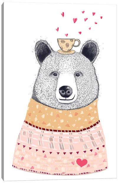 Bear Lover Of Coffee Canvas Art Print