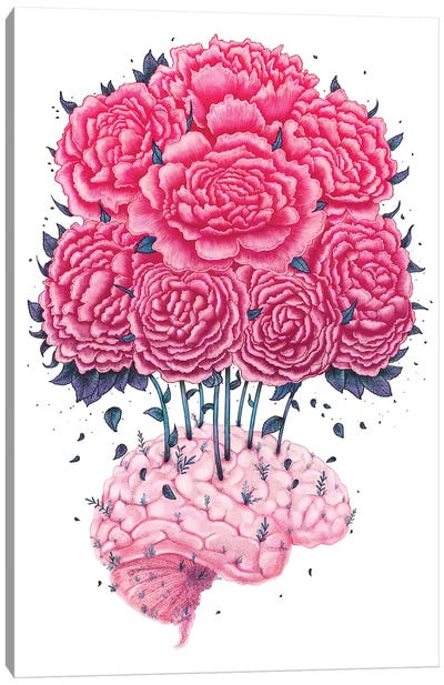 Brain With Peonies Canvas Art Print
