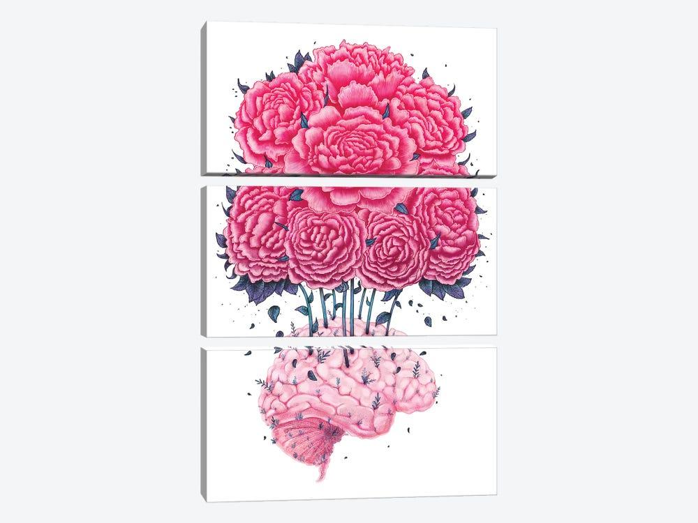Brain With Peonies by Valeriya Korenkova 3-piece Canvas Art Print