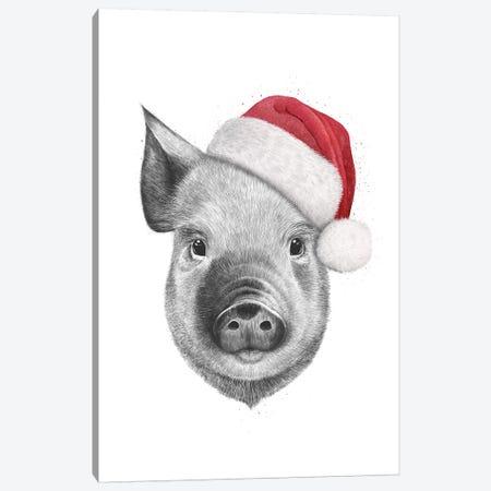 Christmas Pig Canvas Print #VAK89} by Valeriya Korenkova Art Print