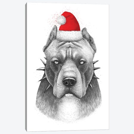 Christmas Pitbull Canvas Print #VAK90} by Valeriya Korenkova Canvas Artwork