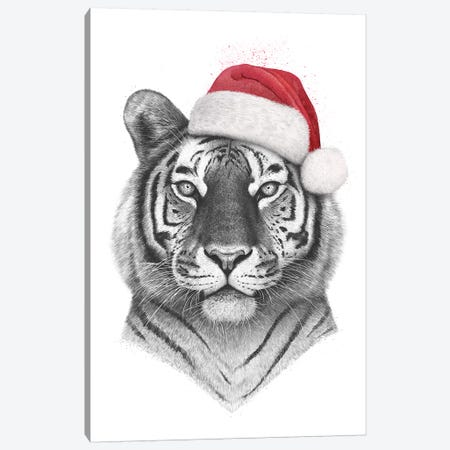 Christmas Tiger Canvas Print #VAK91} by Valeriya Korenkova Canvas Artwork