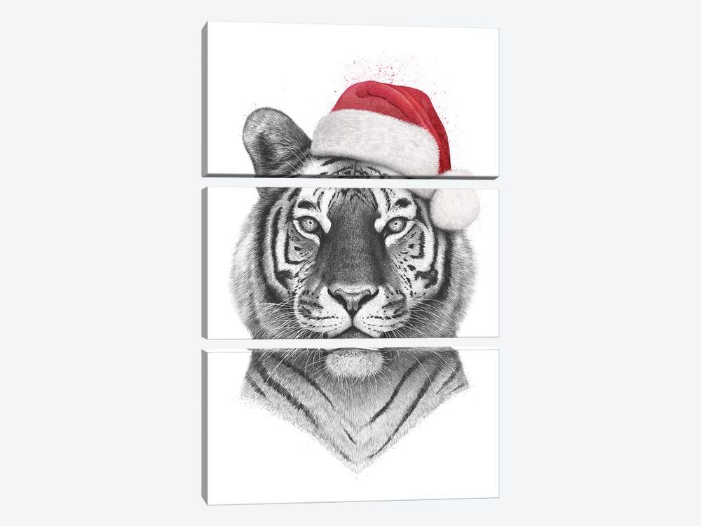 Christmas Tiger by Valeriya Korenkova 3-piece Canvas Wall Art