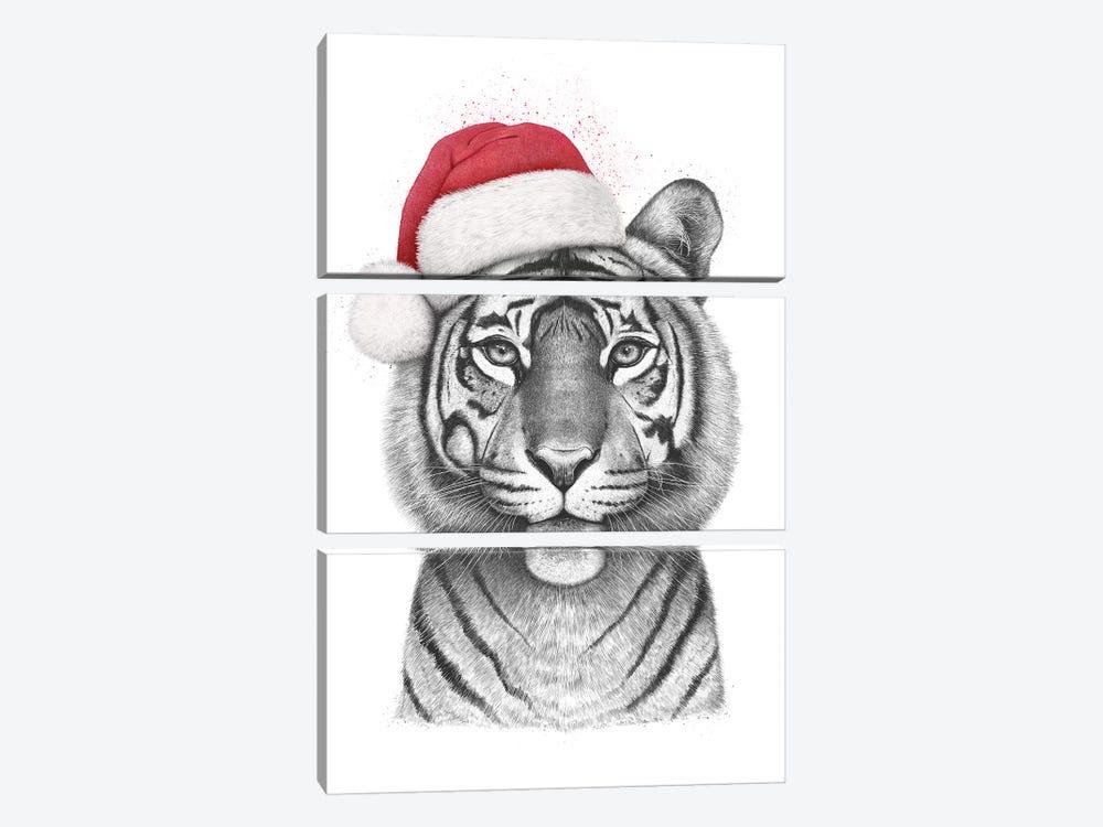 Christmas Tigress by Valeriya Korenkova 3-piece Canvas Art Print