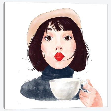 French Woman With Coffee 3-Piece Canvas #VAK95} by Valeriya Korenkova Canvas Art Print